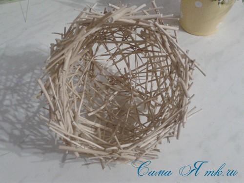 топиарий из палочек веток шпажек птичье гнездо гнездышко пошаговый мк с фото своими руками 23