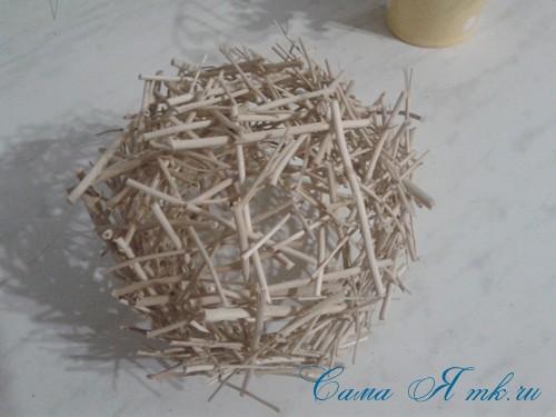 топиарий из палочек веток шпажек птичье гнездо гнездышко пошаговый мк с фото своими руками 24