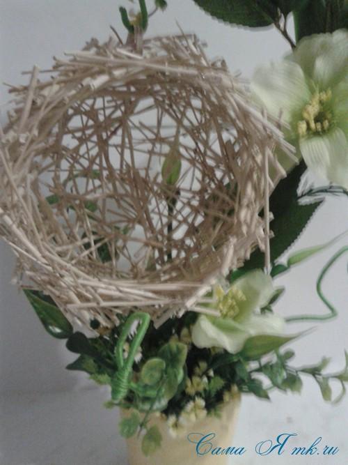 топиарий из палочек веток шпажек птичье гнездо гнездышко пошаговый мк с фото своими руками 26
