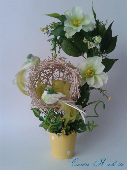 топиарий из палочек веток шпажек птичье гнездо гнездышко пошаговый мк с фото своими руками 27
