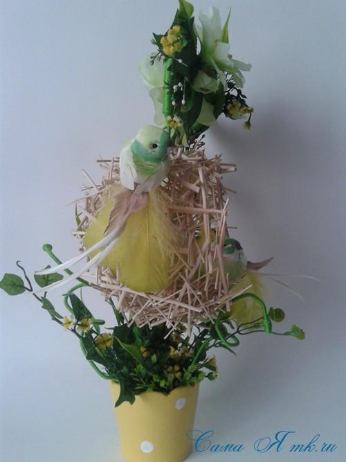 топиарий из палочек веток шпажек птичье гнездо гнездышко пошаговый мк с фото своими руками 28