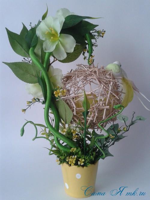 топиарий из палочек веток шпажек птичье гнездо гнездышко пошаговый мк с фото своими руками 29