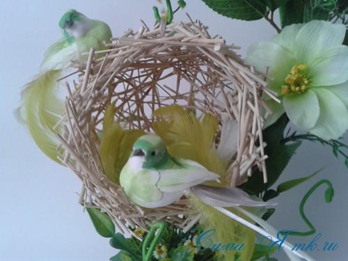 топиарий из палочек веток шпажек птичье гнездо гнездышко пошаговый мк с фото своими руками 35