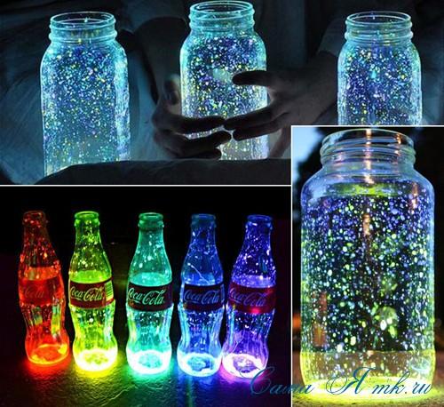светящиеся неоновые банки баночки для новогоднего декора своими руками в домашних условиях 14