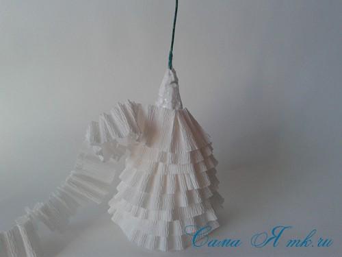 ёлки из гофро гофрированной бумаге своими руками на основе из конуса лепестками валанами торцевание 15