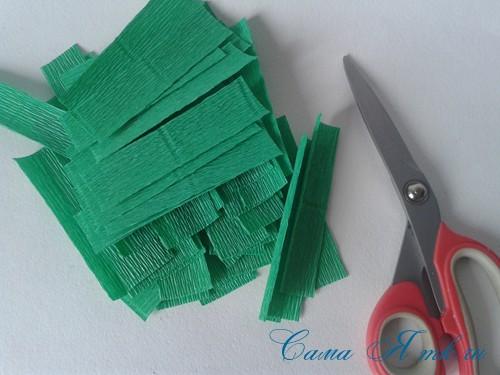 ёлки из гофро гофрированной бумаге своими руками на основе из конуса лепестками валанами торцевание 2