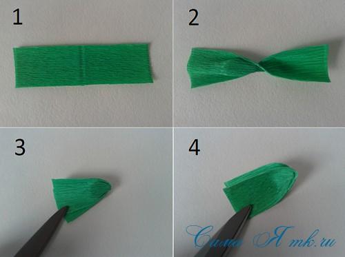 ёлки из гофро гофрированной бумаге своими руками на основе из конуса лепестками валанами торцевание 4