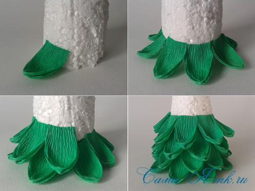 ёлки из гофро гофрированной бумаге своими руками на основе из конуса лепестками валанами торцевание 5