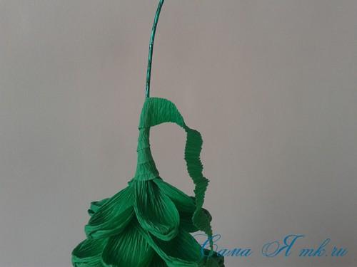 ёлки из гофро гофрированной бумаге своими руками на основе из конуса лепестками валанами торцевание 8