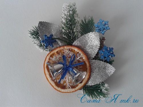 новогодний презент магнит на холодильник своими руками с долькой апельсина идеи с цитрусовыми в декоре 10