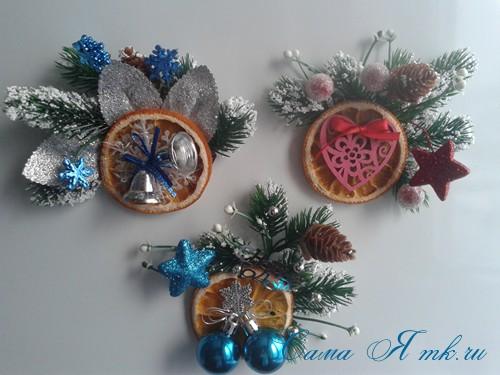 новогодний презент магнит на холодильник своими руками с долькой апельсина идеи с цитрусовыми в декоре 11