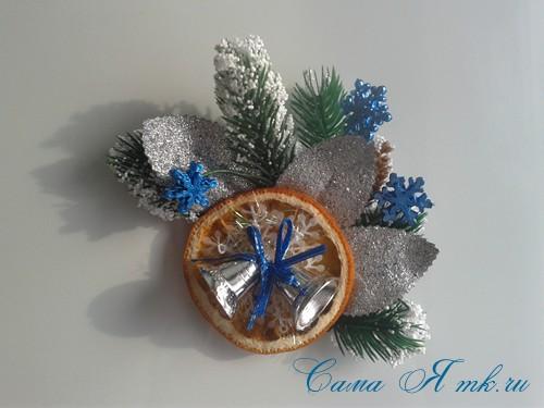 новогодний презент магнит на холодильник своими руками с долькой апельсина идеи с цитрусовыми в декоре 12