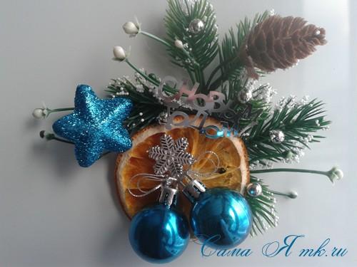 новогодний презент магнит на холодильник своими руками с долькой апельсина идеи с цитрусовыми в декоре 15