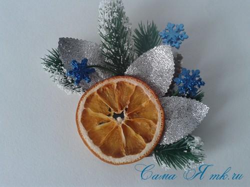новогодний презент магнит на холодильник своими руками с долькой апельсина идеи с цитрусовыми в декоре 9