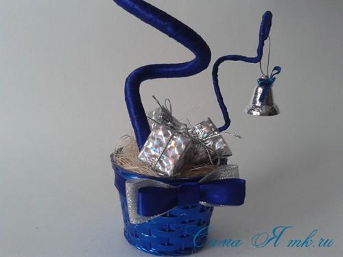 новогодний топиарий из сизаля белых шишек и шаров своими руками фото и мк 23