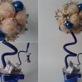 новогодний топиарий из сизаля белых шишек и шаров своими руками
