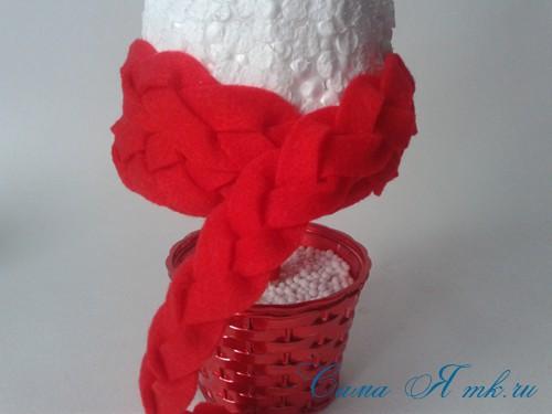 ёлка ёлочка топиарий из фетра косичкой своими руками новогодние сувениры 16