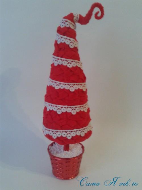 ёлка ёлочка топиарий из фетра косичкой своими руками новогодние сувениры 20