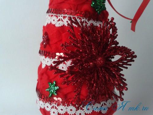 ёлка ёлочка топиарий из фетра косичкой своими руками новогодние сувениры 21