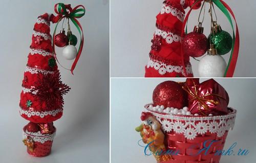 ёлка ёлочка топиарий из фетра косичкой своими руками новогодние сувениры 23