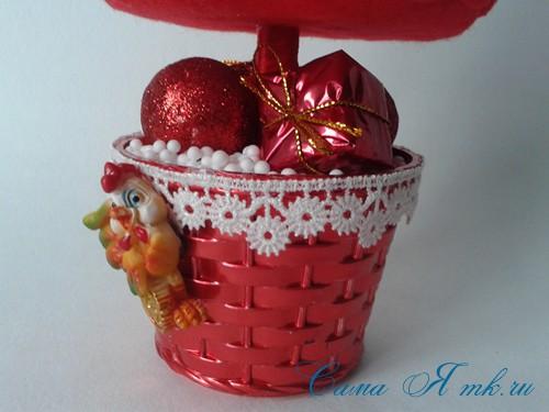 ёлка ёлочка топиарий из фетра косичкой своими руками новогодние сувениры 25