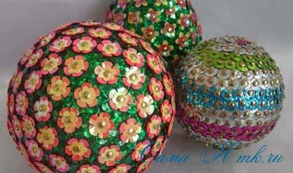новогодние ёлочные шары из пайеток своими руками 11