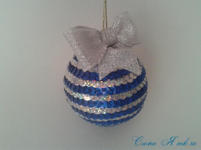 новогодние ёлочные шары из пайеток своими руками 12а