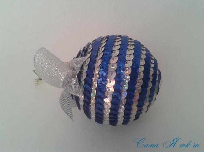 новогодние ёлочные шары из пайеток своими руками 12б
