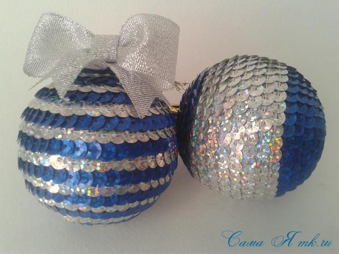 новогодние ёлочные шары из пайеток своими руками 12в