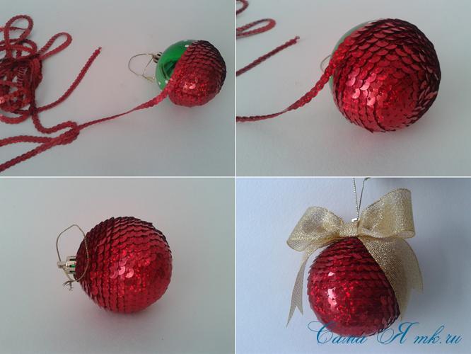 новогодние ёлочные шары из пайеток своими руками 12