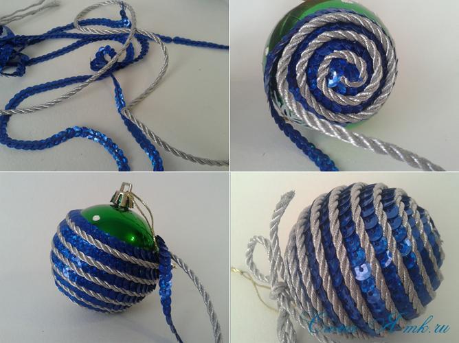 новогодние ёлочные шары из пайеток своими руками 13