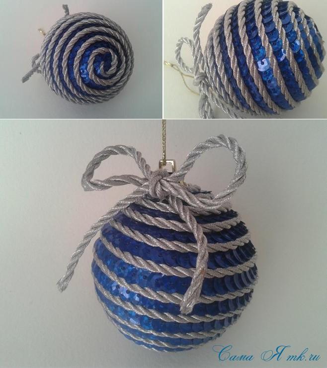 новогодние ёлочные шары из пайеток своими руками 14