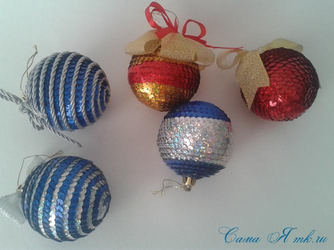 новогодние ёлочные шары из пайеток своими руками 15