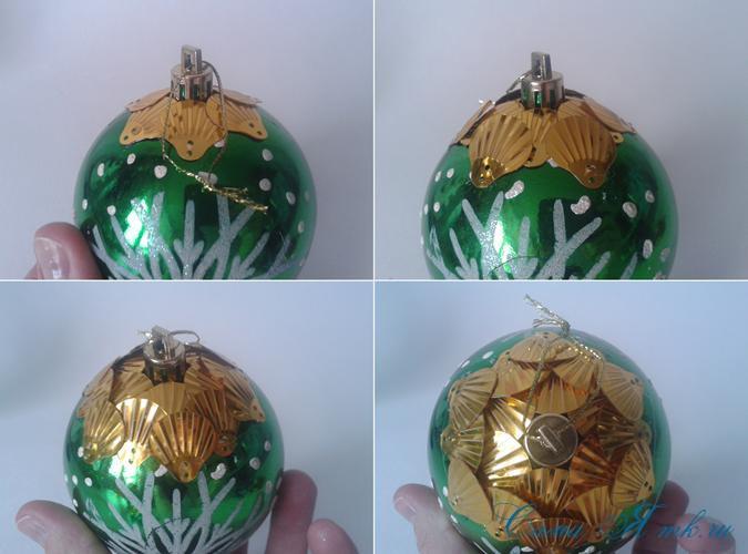 новогодние ёлочные шары из пайеток своими руками 4
