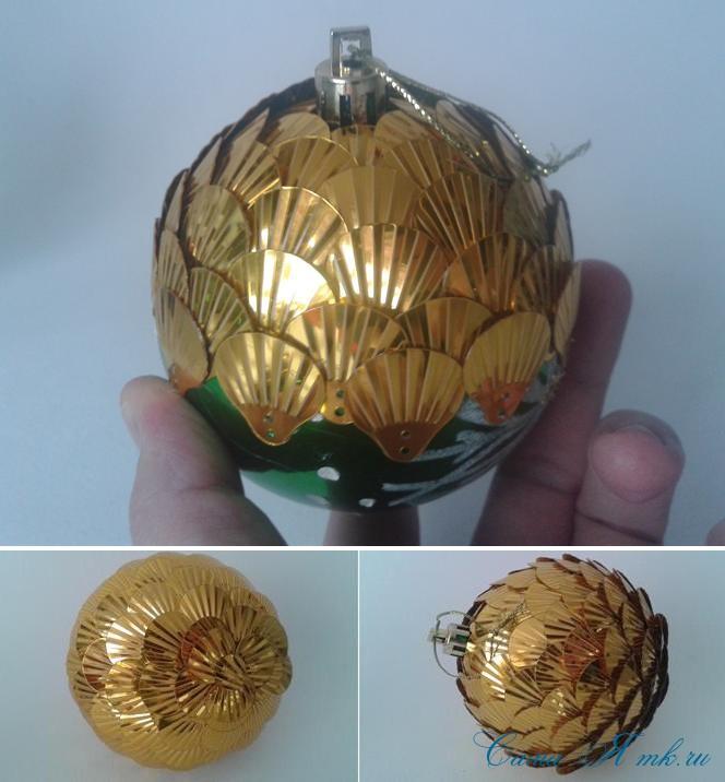 новогодние ёлочные шары из пайеток своими руками 5