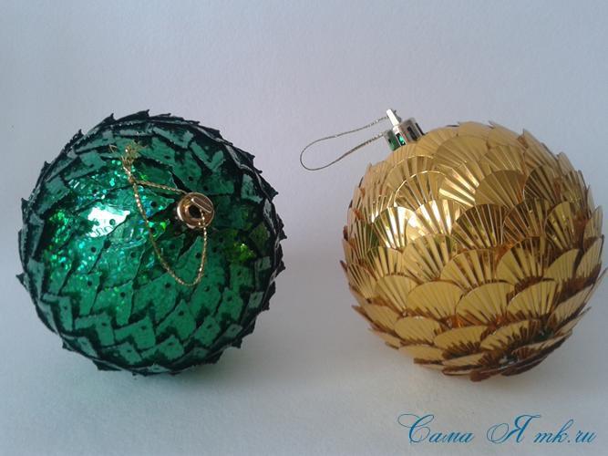 новогодние ёлочные шары из пайеток своими руками 6