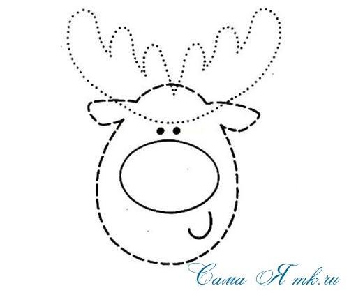 олень олененок новогодняя ёлочная игрушка из фетра трафарет выкройка 1 (Copy)