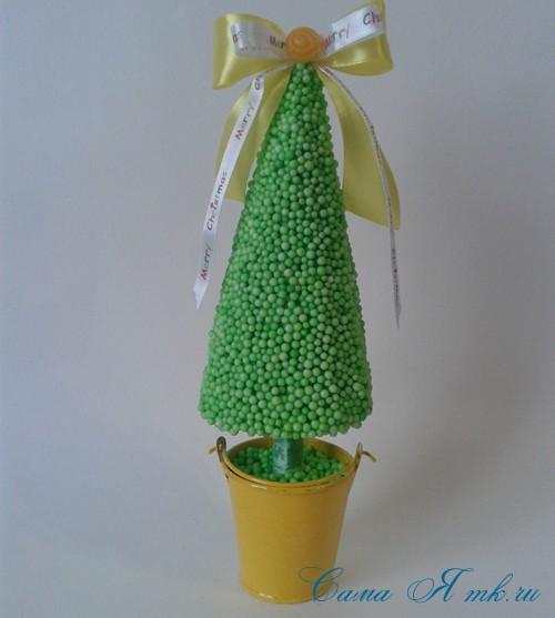 поделки шарики снеговик ёлка из мелких цветных шариков пенопласта своими руками 15 (Copy)