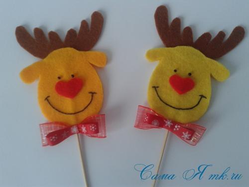 ёлочные игрушки украшения на ёлку подвески из фетра своими руками десткие новогодние поделки из фетра  3