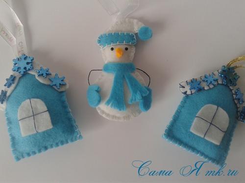 ёлочные игрушки украшения на ёлку подвески из фетра своими руками десткие новогодние поделки из фетра  5