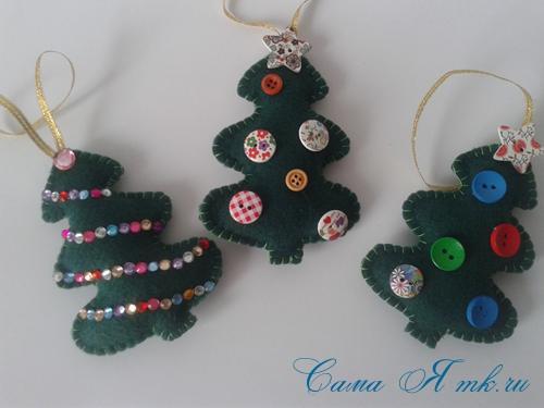 ёлочные игрушки украшения на ёлку подвески из фетра своими руками десткие новогодние поделки из фетра  7