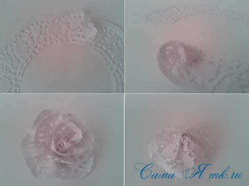 розы цветы из ажурных салфеток своими руками 7
