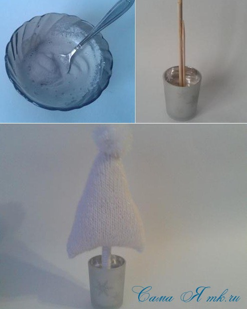 ёлочка ёлка спицами схема вязания своими руками новогодние поделки сувениры 3