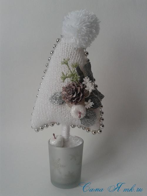 ёлочка ёлка спицами схема вязания своими руками новогодние поделки сувениры 5