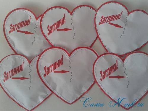 бумажные сердечки со сладким сюрпризом на 14 февраля день валентина влюблённых своими руками шаблон 23
