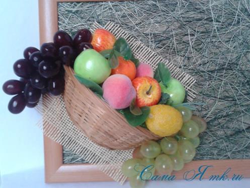 объеное анно коллаж из муляжных декоративных фруктов и ягод на стену своими руками 25
