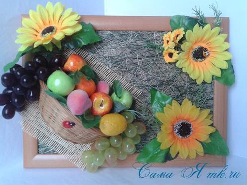 объеное анно коллаж из муляжных декоративных фруктов и ягод на стену своими руками 28
