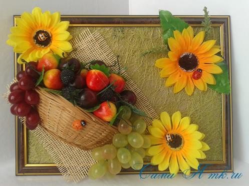 объеное анно коллаж из муляжных декоративных фруктов и ягод на стену своими руками 34