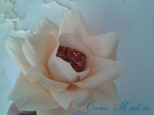 розы из гофро гофрированной бумаги с конфетами свит дизайн своими руками 14