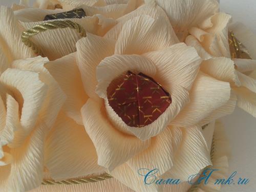 розы из гофро гофрированной бумаги с конфетами свит дизайн своими руками 20